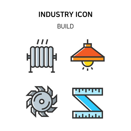 Set of Icon for eco energy, build, bitcoin and IoT industry. 031