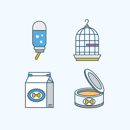 Vector - Set of Pets Related Vector Icons. Flat vector related icon for web and mobile applications 004