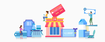 Vector - make our daily lives convenient. benefits concept flat design for mileage, credit card, mobile payment and so on 011
