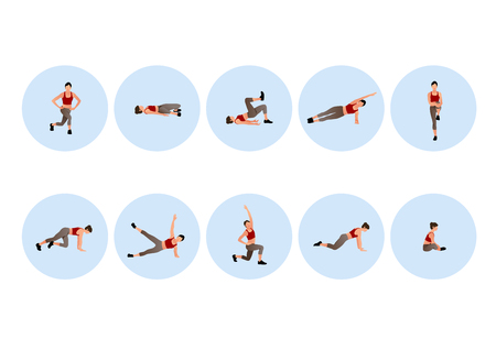Training people icons set for sport and fitness. Flat style design vector illustration. 010