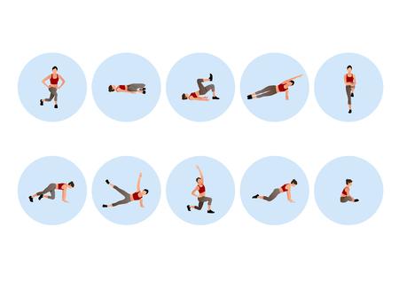 Iconos de personas de formación para deporte y fitness. Ilustración de vector de diseño de estilo plano. 010