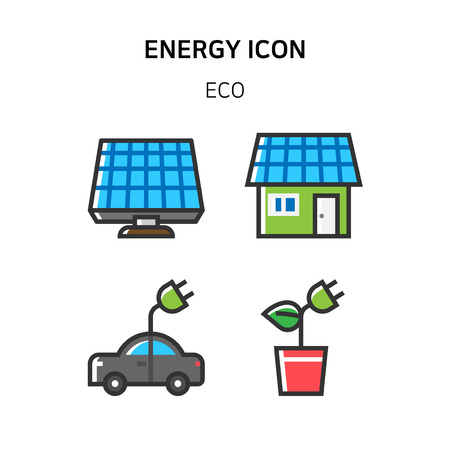 Set of Icon for eco energy, build, bitcoin and IoT industry. 009
