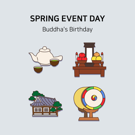 Vector - Spring event day icon set in colorful background 021 일러스트