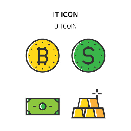 Set of Icon for eco energy, build, bitcoin and IoT industry. 033 Illustration
