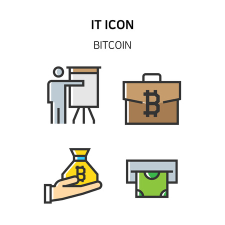 Set of Icon for eco energy, build, bitcoin and IoT industry. 036