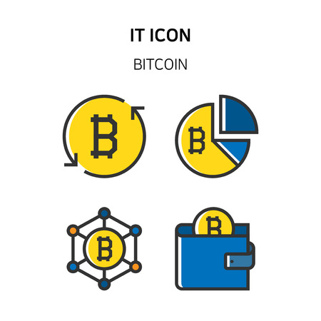 Set of Icon for eco energy, build, bitcoin and IoT industry. 043