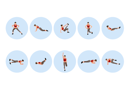 Training people icons set for sport and fitness. Flat style design vector illustration. 009 Vettoriali