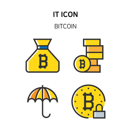 Set of Icon for eco energy, build, bitcoin and IoT industry. 035