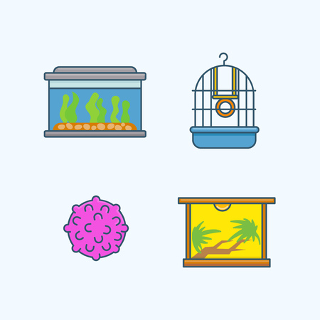 Vector - Set of Pets Related Vector Icons. Flat vector related icon for web and mobile applications 034