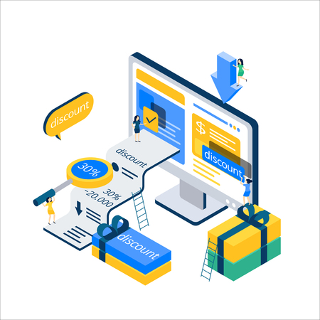 Vector - Flat 3d web isometric e-commerce, electronic business, online mobile shopping concept vector 006
