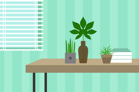 Tropical plants on the table.