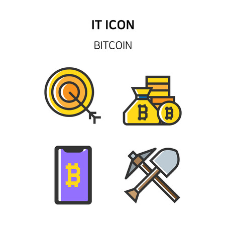 Set of Icon for eco energy, build, bitcoin and IoT industry. 044