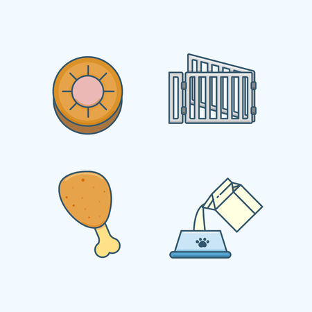 Vector - Set of Pets Related Vector Icons. Flat vector related icon for web and mobile applications 037 Çizim