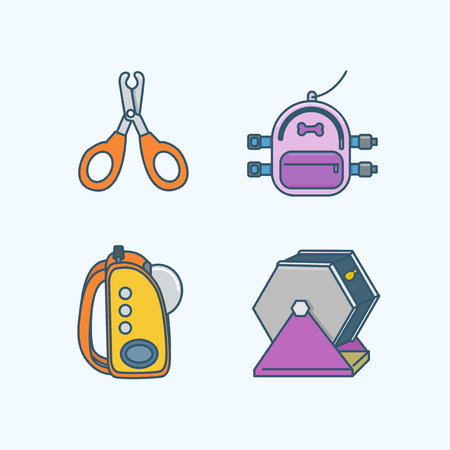 Vector - Set of Pets Related Vector Icons. Flat vector related icon for web and mobile applications 029