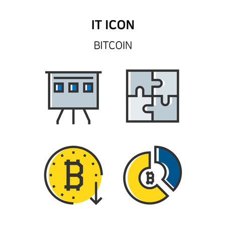 Set of Icon for eco energy, build, bitcoin and IoT industry. 040 Illustration