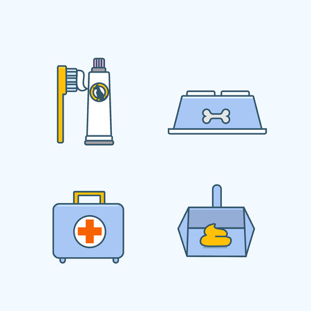 Vector - Set of Pets Related Vector Icons. Flat vector related icon for web and mobile applications 009