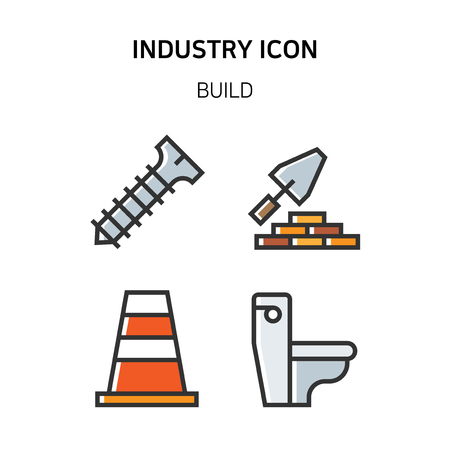 Set of Icon for eco energy, build, bitcoin and IoT industry. 032