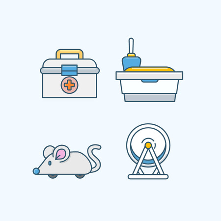 Vector - Set of Pets Related Vector Icons. Flat vector related icon for web and mobile applications 002