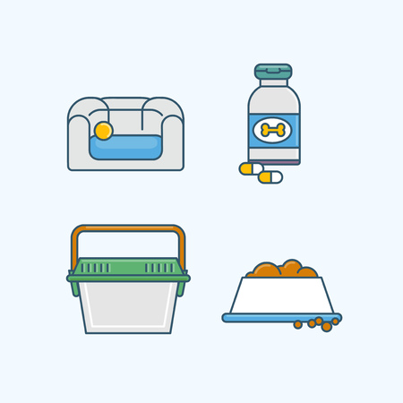 Vector - Set of Pets Related Vector Icons. Flat vector related icon for web and mobile applications 003 Çizim