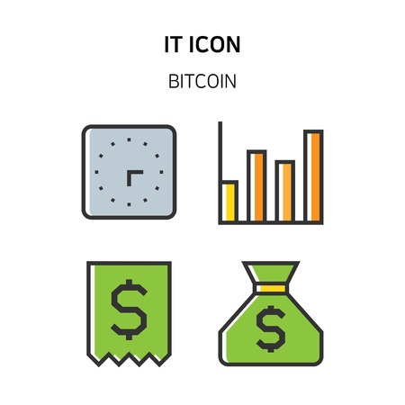 Set of Icon for eco energy, build, bitcoin and IoT industry. 038 Illustration