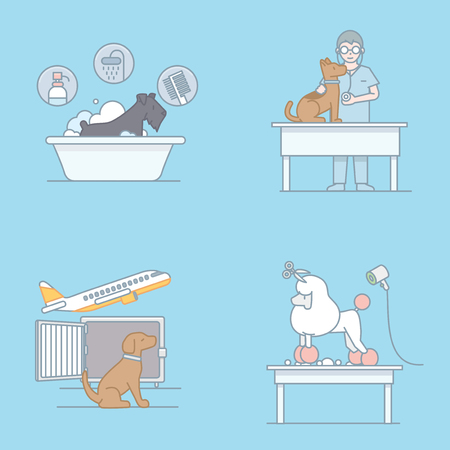 Vector - Pet's daily life, various companion animals vector illustration 008