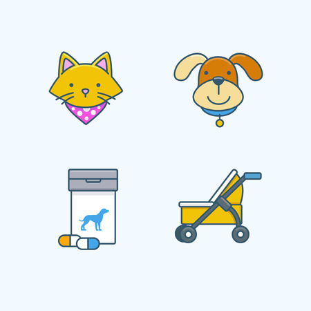 Vector - Set of Pets Related Vector Icons. Flat vector related icon for web and mobile applications 036