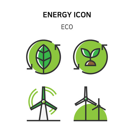 Set of Icon for eco energy, build, bitcoin and IoT industry. 001 Illustration