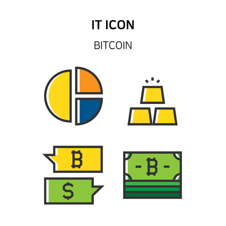 Set of Icon for eco energy, build, bitcoin and IoT industry. 041