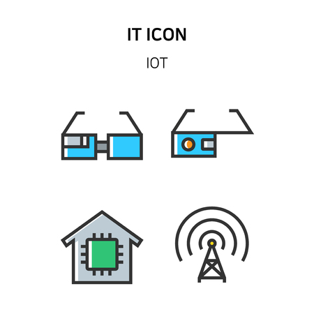 Set of Icon for eco energy, build, bitcoin and IoT industry. 060