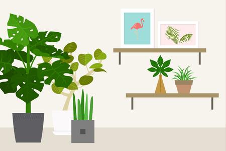 Tropical indoor plants vector illustration.