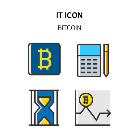 Set of Icon for eco energy, build, bitcoin and IoT industry. 034 Illustration