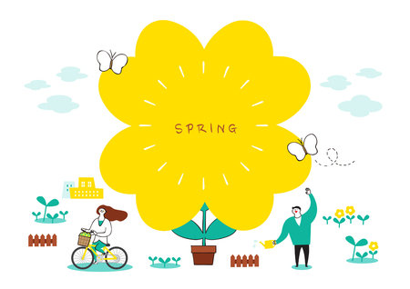 Vector illustration of spring object - flowers, the cherry tree, umbrella and so on. 001 Illustration