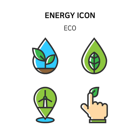 Set of Icon for eco energy, build, bitcoin and IoT industry. 002 Çizim