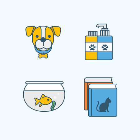 Vector - Set of Pets Related Vector Icons. Flat vector related icon for web and mobile applications 005