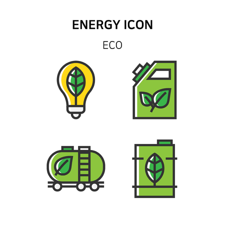 Set of Icon for eco energy, build, bitcoin and IoT industry. 004