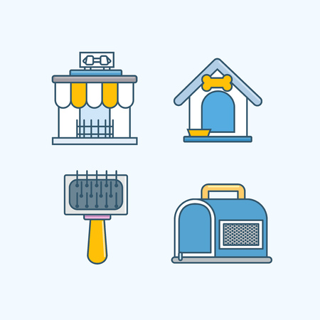 Vector - Set of Pets Related Vector Icons. Flat vector related icon for web and mobile applications 001