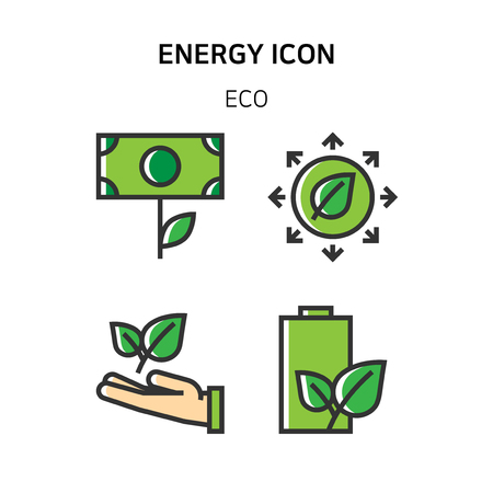 Set of Icon for eco energy, build, bitcoin and IoT industry. 006