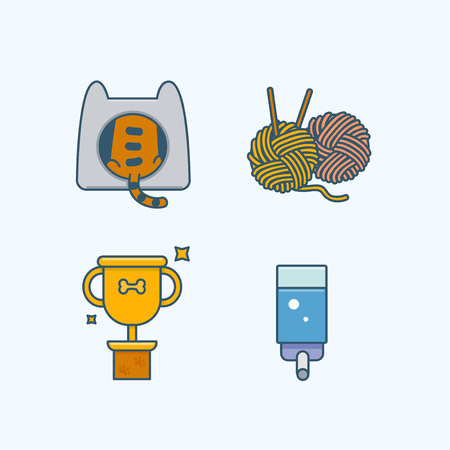 Vector - Set of Pets Related Vector Icons. Flat vector related icon for web and mobile applications 030