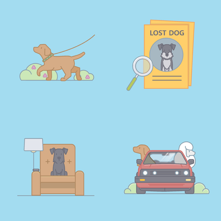 Vector - Pet's daily life, various companion animals vector illustration 009 矢量图像