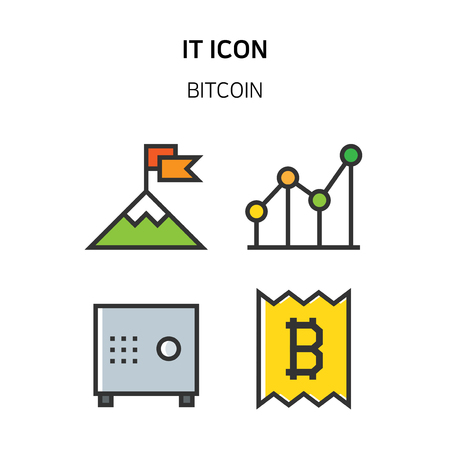 Set of Icon for eco energy, build, bitcoin and IoT industry. 037