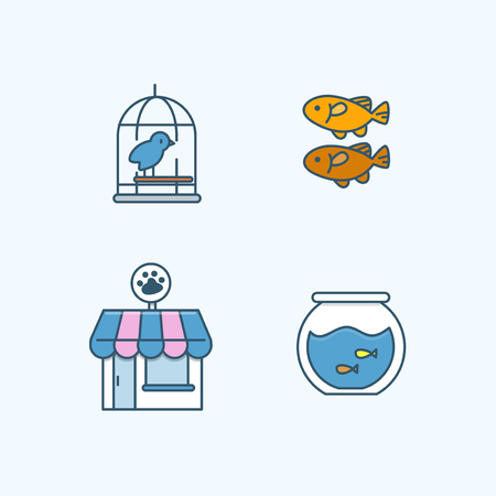 Vector - Set of Pets Related Vector Icons. Flat vector related icon for web and mobile applications 021 Çizim