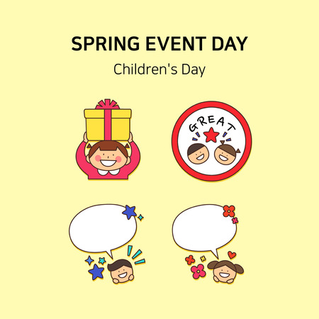 Vector - Spring event day icon set in colorful background 004