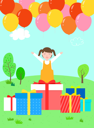A girl who is delighted to receive many gifts.