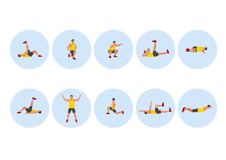 Training people icons set for sport and fitness. Flat style design vector illustration. 007