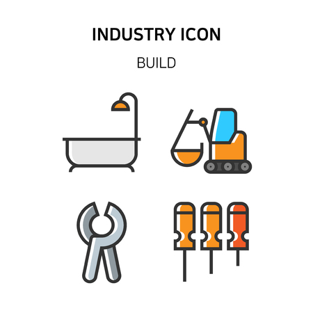 Set of Icon for eco energy, build, bitcoin and IoT industry. 030 Illustration