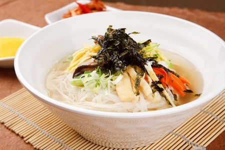 Korean food collection photo_Banquet Noodles, white noodle topping of some vegetables and egg in bowl 12 Stok Fotoğraf