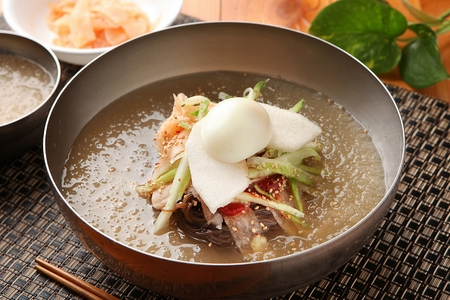 Korean food Cold Noodles with vegetables, Mul-naengmyeon