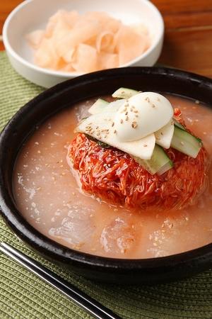 Korean food Cold Noodles, Mul-naengmyeon, close-up shot