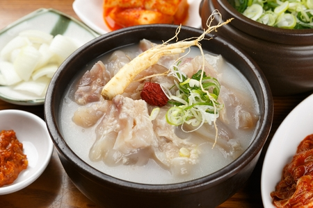 Korean cuisine Dogani Tang, beef born cartilage stew Stock Photo