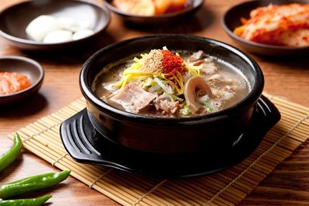 Korean cuisine Gom tang, beef bone soup in clear broth